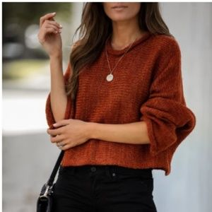 KORTE AVE. Cropped Knit Sweater